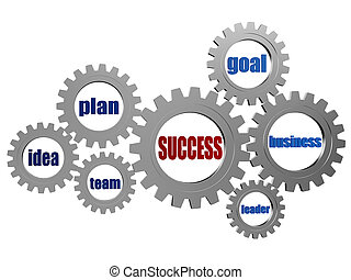 success and business concept words in silver grey gearwheels...