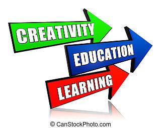 creativity, education, learning in arrows