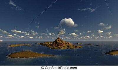 Active volcano in ocean, helicopter view, time lapse clouds