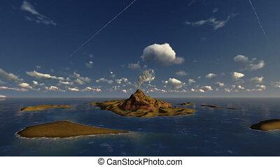 Active volcano in ocean