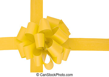 Yellow Ribbon - a yellow ribbon isolated on the white...