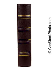 book - Leather cover of book an end view isolated on white...
