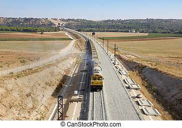 Railway under construction on a countryside horizontal