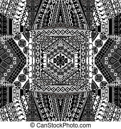 Background with mosaic of African black and white patterns