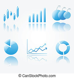 Shiny blue chart icons - Six shiny blue chart icons isoleted...