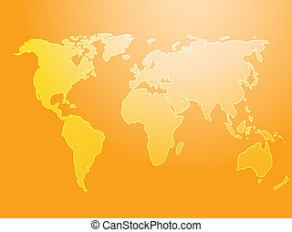 Map of the world illustration, simple outline on gradient...
