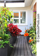 Modern beautiful terrace with a lot of flowers