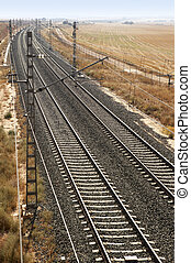 Rail road across spanish country side vertical