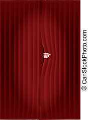 Peeping Through the Curtains - Dark red curtains with a...