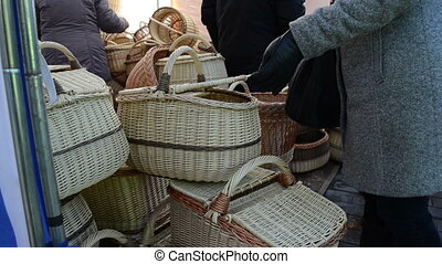 wicker basket fair woman - young woman at the market...