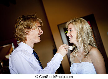 Wedding preparations - Bride and groom are getting ready for...
