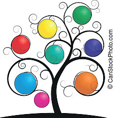 spiral tree sphere - illustration of colorful sphere on...