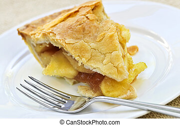 Slice of apple pie - Slice of fresh apple pie on a plate