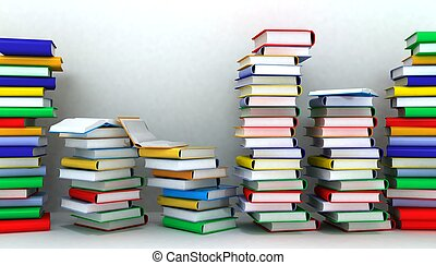 3d illustration of books piles and wall