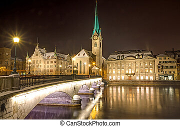 Nightscene in Zurich - Nightscene at the banks of river...