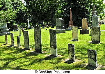 Old cemetery - Tombstones at the old cemetery in Ontario,...