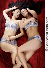 two sexy beautiful brunette girls lying on red background...