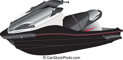 Jet Ski - A Black and Silver Jet Ski isolated on White