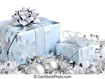 Christmas gift boxes - Wrapped gift boxes with silver...