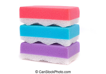 different color three square bath sponge isolated on white...