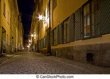 Empty alley at night.