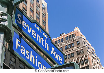 New York street sign on seventh avenue, Fashion Ave.