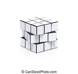 Blank white cubic twist puzzle with copy space for your...