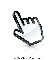 Hand pointer - Vector illustration of hand cursor on white...