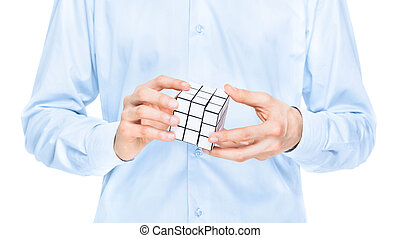 Businessman solving blank puzzle game - Cropped view of the...