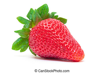 Ripe Berry Red Strawberry on white background, closeup