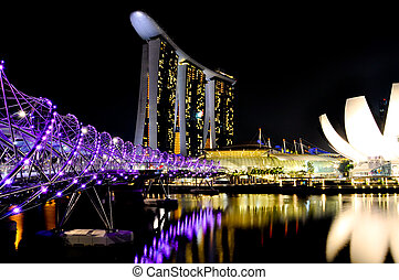 Marina Bay Sands - Modern asian hotel at night.