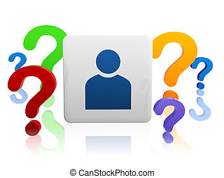 person sign with color question-marks - 3d person sign in...