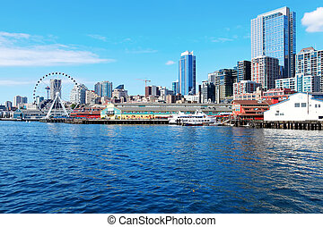 Seattle waterfront Pier 55 and 54 Downtown view from ferry