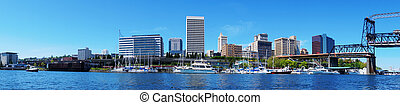 Tacoma downtown water view with business buildings....