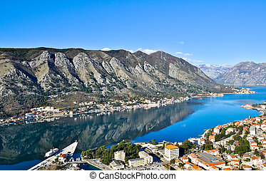Kotor Bay - Panoramic view of the city, bay, and fjord.