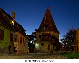 old defense tower, sighisoara - old medieval defense tower...