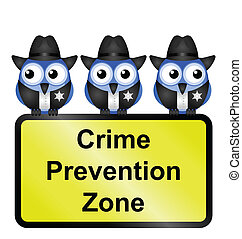 USA crime prevention zone sign - Comical USA crime...