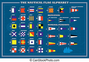 International maritime signal flags - sea alphabet , vector...