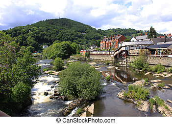 View of Llangollen in Denbighshire Wales UK