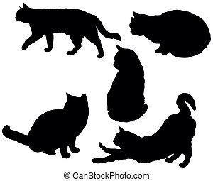 Posing cats - Set of a posing cats vector silhouettes