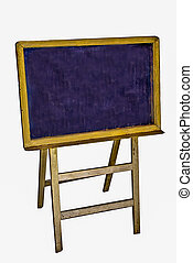 The Old wooden blackboard isolated on white background