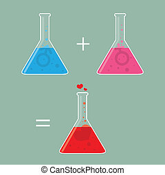 Chemistry of Love - Vector illustration of two flasks of...