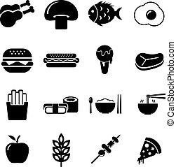 Food Icon Set Black and White