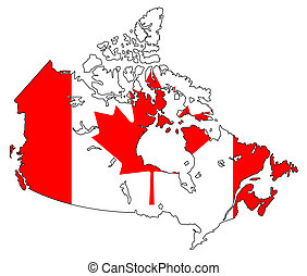 canada - map and flag of canada