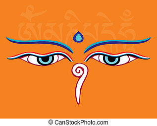 Buddha eyes or Wisdom eyes - holy asian religious symbol,...