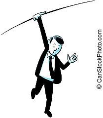 Hanging Businessman - A cartoon businessman hangs from a...