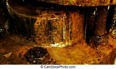 Rusty dripping pipes - Close up from old industry