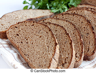 Rye bread, cut into chunks. Corn bread made from flour and...