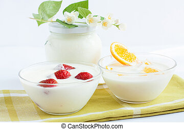 Milk dessert with fresh fruit, yogurt, - Milk dessert with...