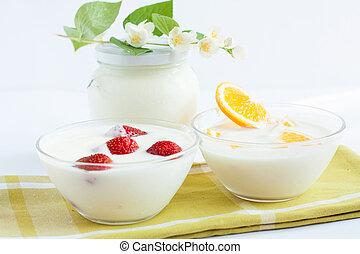 leite, sobremesa, fresco, fruta, yogurt